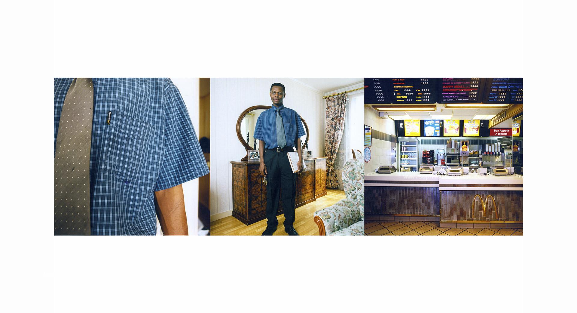 """Jean a 35 ans, et 11 ans de Mc Do. «Je suis rentré comme équipier pour financer mes études d'économie. Aîné de ma famille, j'ai du travailler rapidement suite au divorce de mes parents. J'ai évolué rapidement, d'équipier, je suis monté «swing», puis je suis devenu manager». Fort de son ancienneté, c'est lui qui a vu défiler les costumes : """"des chemises blanches, des bleues, des bleues avec des pois, des cravates unies, des rayées, avec ou sans logo... Tous les matins, je pars habillé en Mc Do. Ce que nous portons, nous les managers, c'est discret. C'est presque comme un costume de ville. Pourtant, dans mon quartier presque tout le monde sait que je travaille chez Mc Do. Parfois quand je fais mes courses, on me dit «bonjour monsieur Mc Do...»"""
