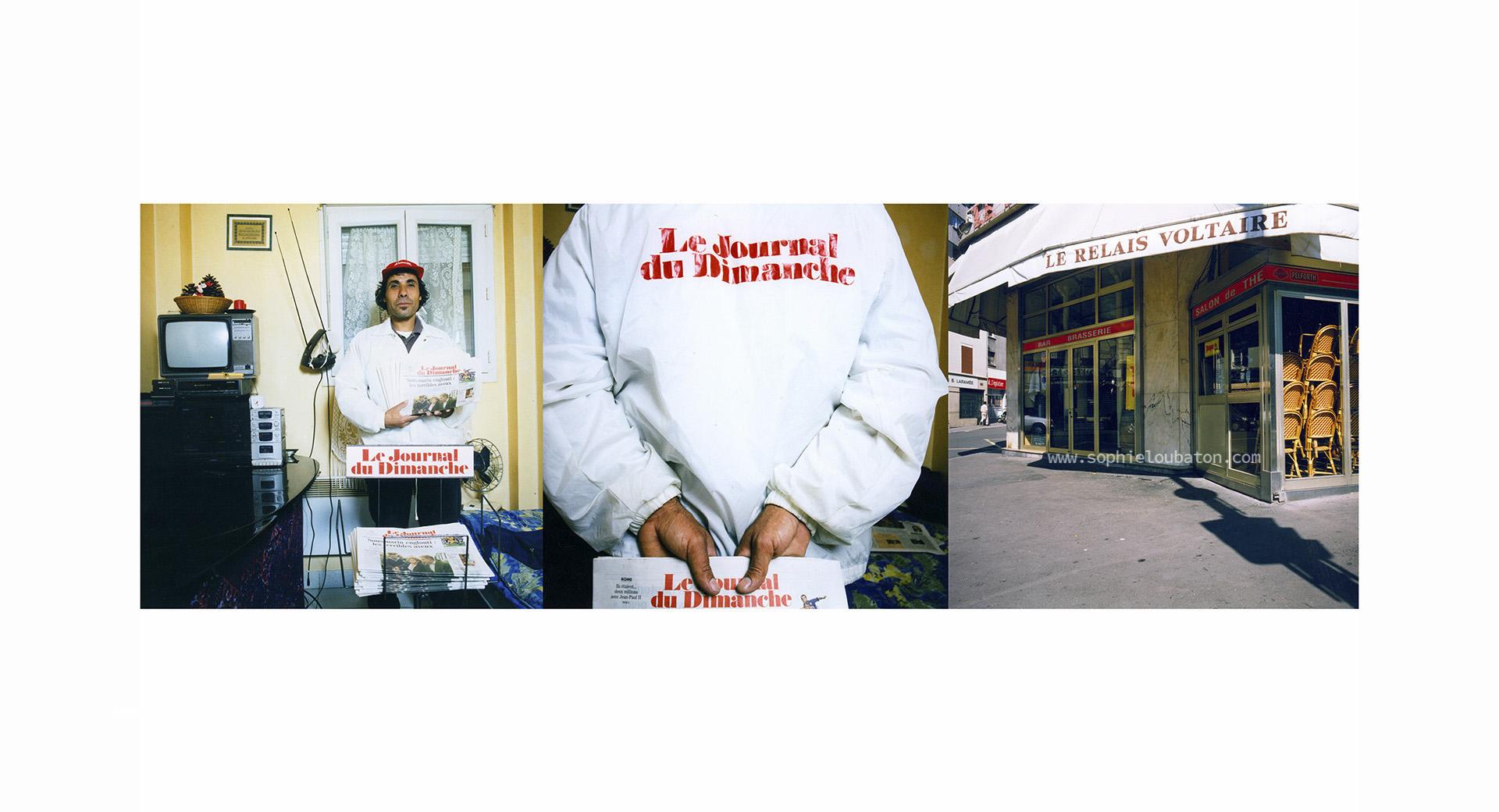 """_____Mahmoud 37 ans est originaire de Syrie et partage un studio avec trois compatriotes. Ex-chauffeur de ministre dans son pays, ex-boulanger en Jordanie, il est aujourd'hui ouvrier du batiment six jours sur sept, et on peut le rencontrer les fins de semaine métro Charonnes, place d'Italie ou à Bastille. _____Sans boutique ni pas de porte, dans son blouson, sous sa casquette frappés """"Journal du Dimanche il vend à la criée : _____""""Journal du dimanche, bonjour bonjour, bon appetit, bon courage… la semaine prochaine à République… """""""