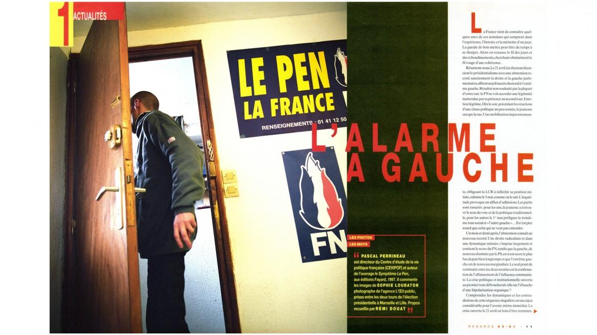 # L'ALARME À GAUCHE _ REVUE REGARDS / ÉTÉ 2002