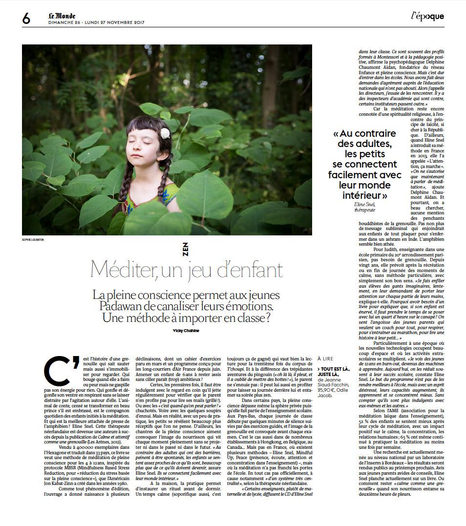 # méditer, un jeu d'enfant _ Le Monde / 2017